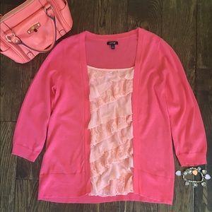 💕🌷Coral Ruffled Blouse & Cardigan Size Medium